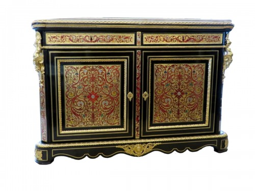 Cabinet multi colors in Boulle marquetry Napoléon III stamped PRETOT