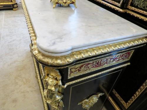 PRETOT Cabinet multi colors in Boulle marquetry 19th Napoléon III - Napoléon III