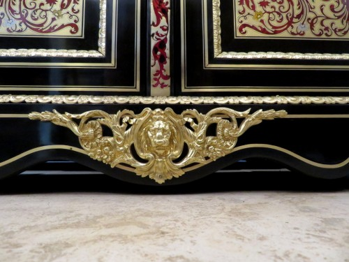 Antiquités - PRETOT Cabinet multi colors in Boulle marquetry 19th Napoléon III