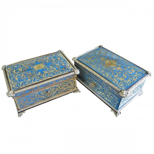 Pair of 19th century Boxes in Boulle marquetry Stamped Garnesson