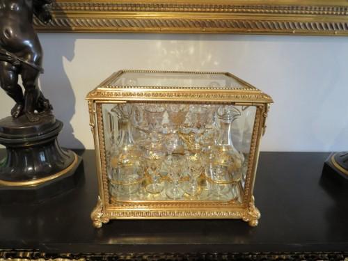 Golden crystal Tantalus Box Bronze Napoleon III period 19th - Decorative Objects Style Napoléon III