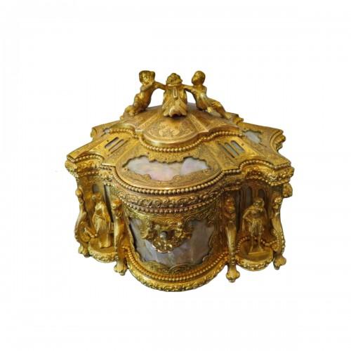 Jewelry Box bronze and Burgau 19th century Napoleon III period