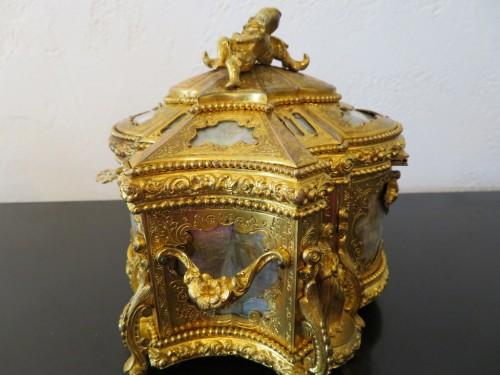 Antiquités - Jewelry Box bronze and Burgau 19th century Napoleon III period