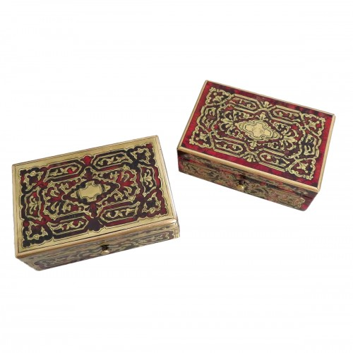 Stamped Tahan Pair of Boxes in Boulle marquetry 19th Napoleon III period