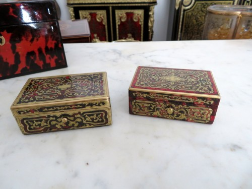 Stamped Tahan Pair of Boxes in Boulle marquetry 19th Napoleon III period - Objects of Vertu Style Napoléon III