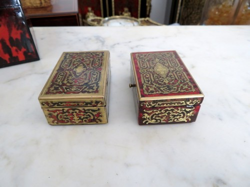 Objects of Vertu  - Stamped Tahan Pair of Boxes in Boulle marquetry 19th Napoleon III period