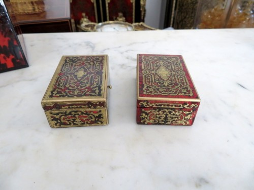 Stamped Tahan Pair of Boxes in Boulle marquetry 19th Napoleon III period -