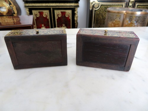 19th century - Stamped Tahan Pair of Boxes in Boulle marquetry 19th Napoleon III period