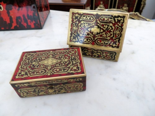 Stamped Tahan Pair of Boxes in Boulle marquetry 19th Napoleon III period - Napoléon III