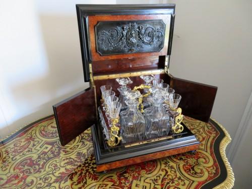 Napoléon III -  Tantalus Box in Bas Relief 19th century crystal Baccarat