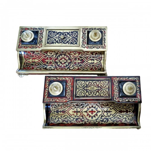 pair of French inkwell in Boulle marquetry with crystal inkwell 19th Napole