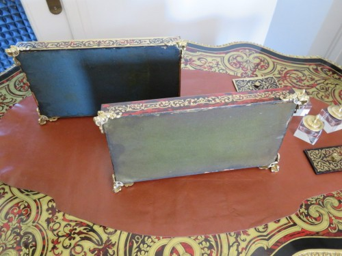 Decorative Objects  - pair of French inkwell in Boulle marquetry with crystal inkwell 19th Napole
