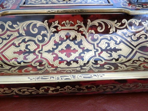 Antiquités - pair of French inkwell in Boulle marquetry with crystal inkwell 19th Napole
