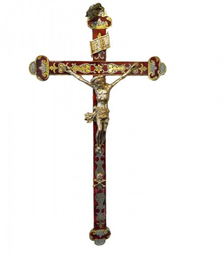 Crucifix in Boulle marquetry Napoleon III period 19th