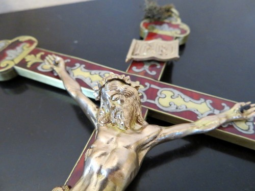 Crucifix in Boulle marquetry Napoleon III period 19th -