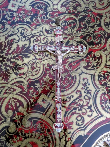 Antiquités - Crucifix in Boulle marquetry Napoleon III period 19th