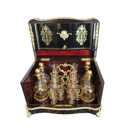 Stamped JOUVE Golden crystal Tantalus Box Black and Bronze Napoleon III per