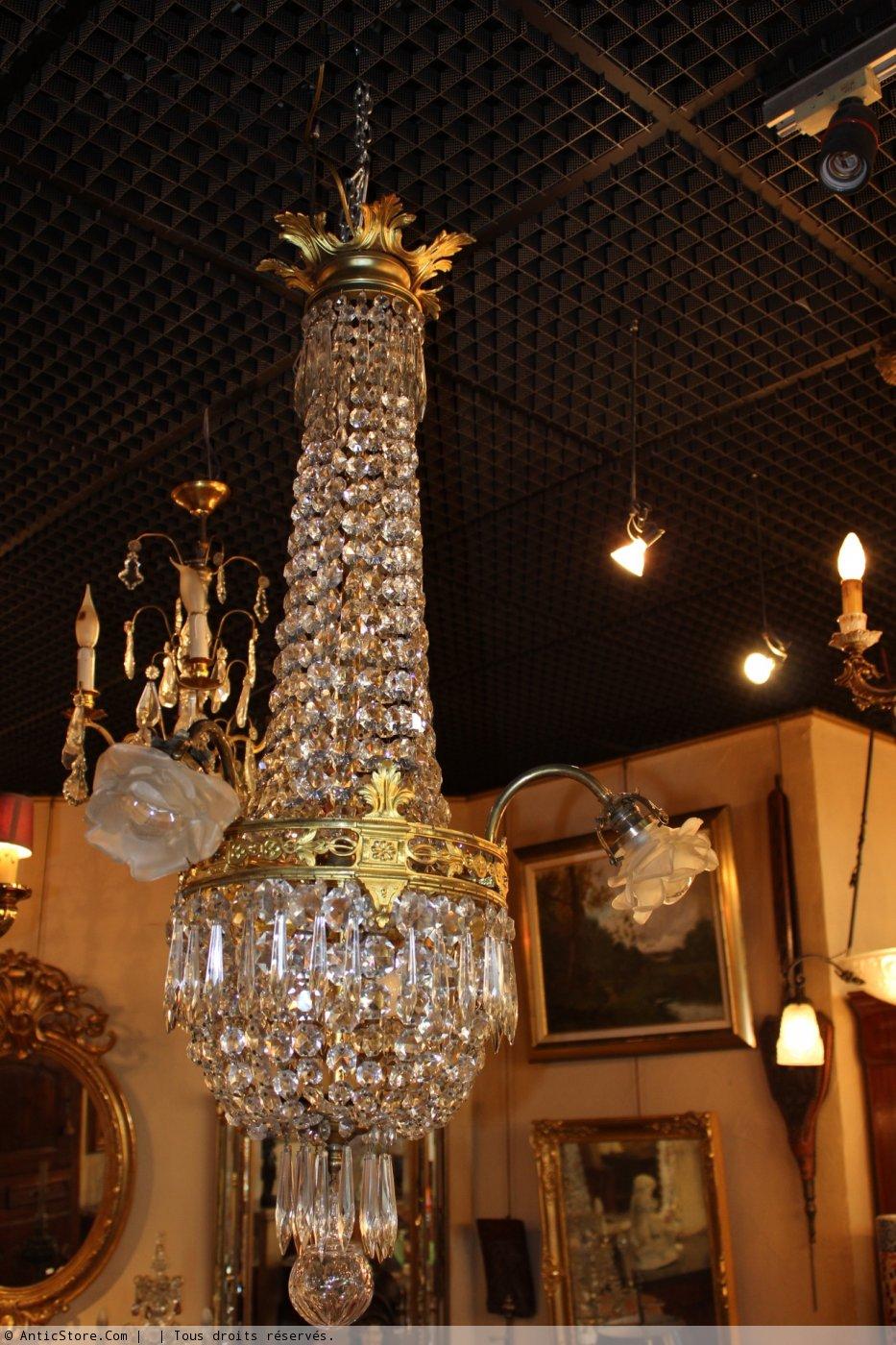 lustre montgolfi re en bronze dor et cristal xixe si cle anticstore antiquit s 19 me si cle. Black Bedroom Furniture Sets. Home Design Ideas