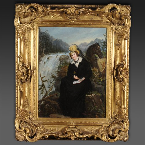 Portrait of a woman and her horse - French school 19th or German