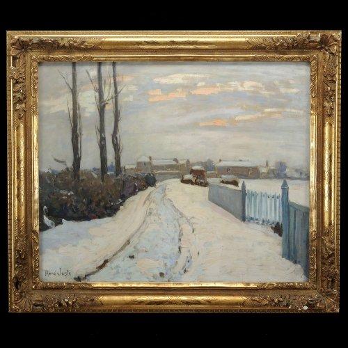 "René Juste (1868-1954) - ""Green barrier"" - Independants Salon painting"