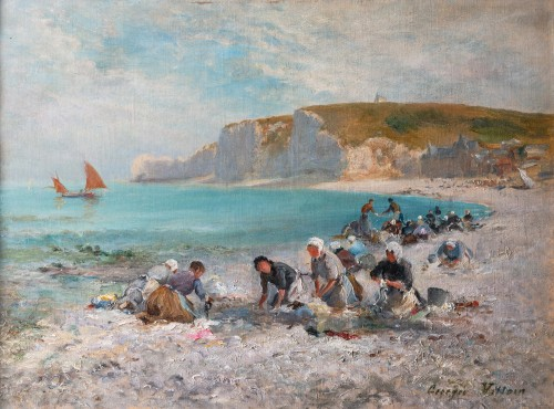 Georges Villain (1854-1930) Washing womens on the beach of Etretat Normandy