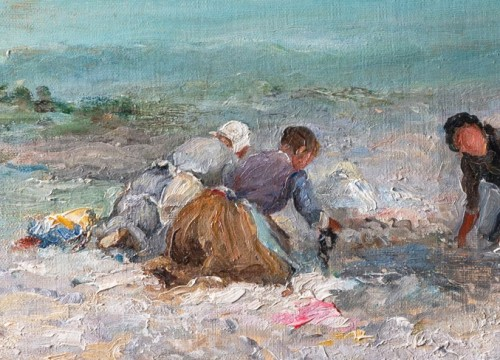 Georges Villain (1854-1930) Washing womens on the beach of Etretat Normandy - Paintings & Drawings Style