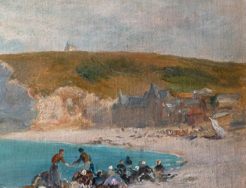 Georges Villain (1854-1930) Washing womens on the beach of Etretat Normandy -