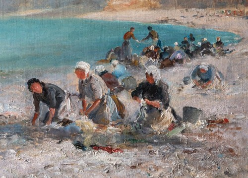 20th century - Georges Villain (1854-1930) Washing womens on the beach of Etretat Normandy