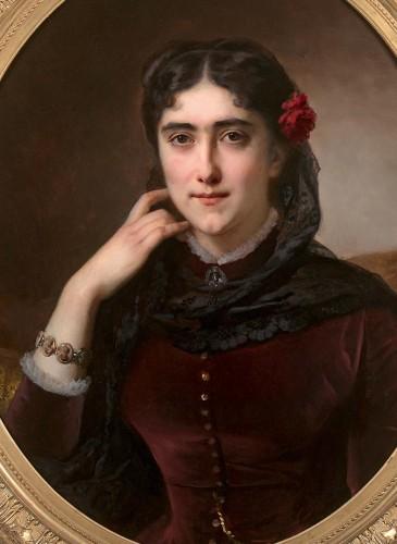 Hermann Winterhalter (1801-1891) - Portrait of Mathilde Leclerc de Juigné - Paintings & Drawings Style Napoléon III