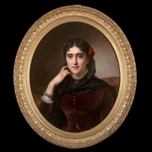 Paintings & Drawings  - Hermann Winterhalter (1801-1891) - Portrait of Mathilde Leclerc de Juigné