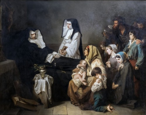 Isidore Pils (1815-1875) - The death of a Charity sister - Paintings & Drawings Style Louis-Philippe