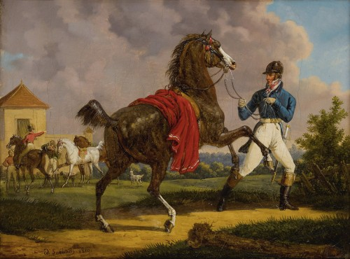 Bernard-Edouard Swebach (1800-1870) - Squire training the horse of King Louis XVIII