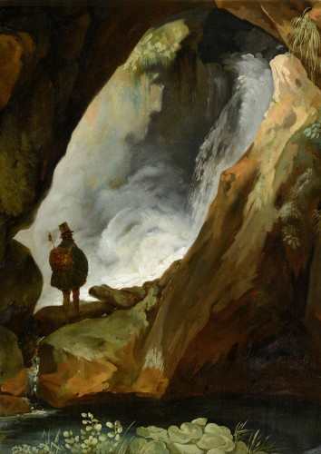 Simon Denis (1755-1813) - Tivoli, walker in the cave of Neptune