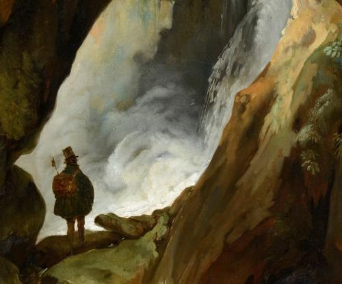 Paintings & Drawings  - Simon Denis (1755-1813) - Tivoli, walker in the cave of Neptune