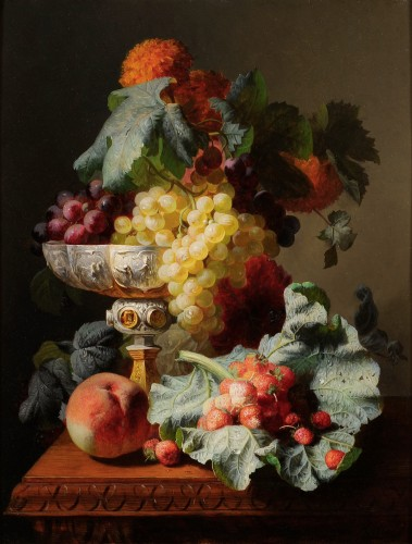 Jean-Baptiste Robie (1821-1910) - Still life of fruits with a chalice
