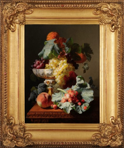 Jean-Baptiste Robie (1821-1910) - Still life of fruits with a chalice - Paintings & Drawings Style Napoléon III