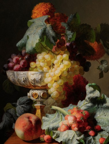Paintings & Drawings  - Jean-Baptiste Robie (1821-1910) - Still life of fruits with a chalice