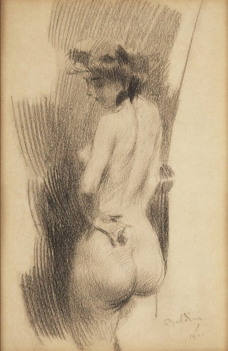 Giovanni Boldini (1842-1931) - Back nude, presumed portrait of Lina Cavalieri