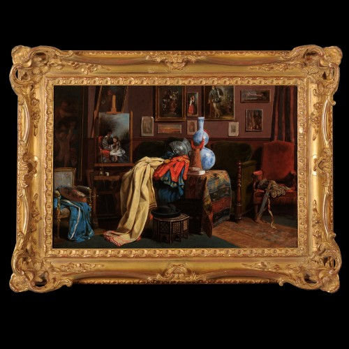 John O'Brien Inman (1828-1896) - The artist's studio in Paris - Paintings & Drawings Style Napoléon III