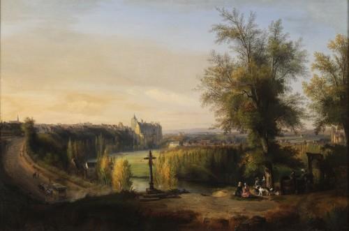 François-Edme Ricois (1795-1881) - View of Châteaudun in Eure-et-Loir - Paintings & Drawings Style Napoléon III