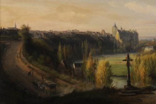 Paintings & Drawings  - François-Edme Ricois (1795-1881) - View of Châteaudun in Eure-et-Loir