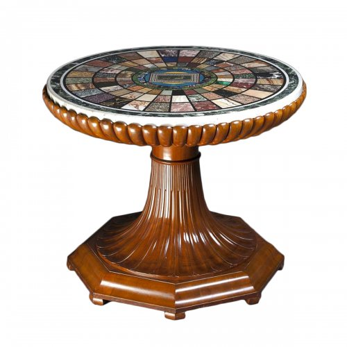 Ceremonial Pedestal table, hard stones, antiques glasses and micromosaic