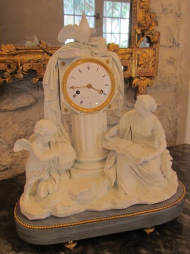 """A late 18th C. Figural Clock """"Astronomy"""" in Biscuit - Clocks Style Louis XVI"""