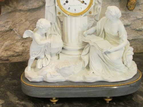 """Clocks  - A late 18th C. Figural Clock """"Astronomy"""" in Biscuit"""