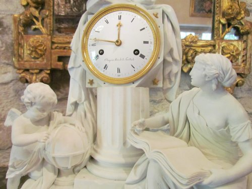 """A late 18th C. Figural Clock """"Astronomy"""" in Biscuit -"""