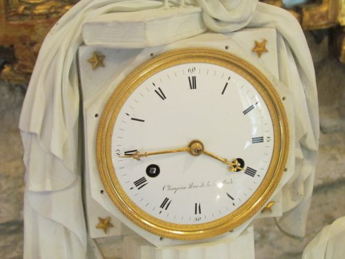 """18th century - A late 18th C. Figural Clock """"Astronomy"""" in Biscuit"""