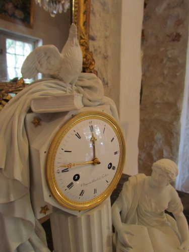 """A late 18th C. Figural Clock """"Astronomy"""" in Biscuit - Louis XVI"""