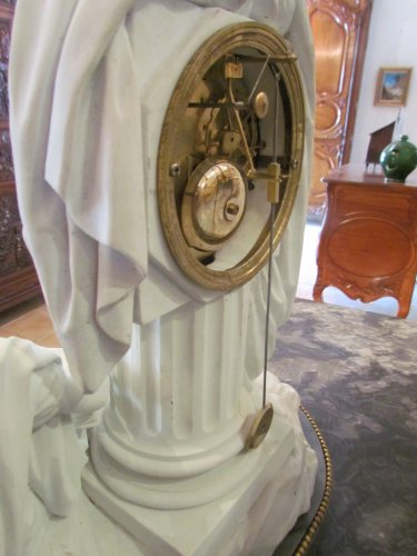 """Louis XVI - A late 18th C. Figural Clock """"Astronomy"""" in Biscuit"""