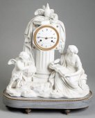 "A late 18th C. Figural Clock ""Astronomy"" in Biscuit"