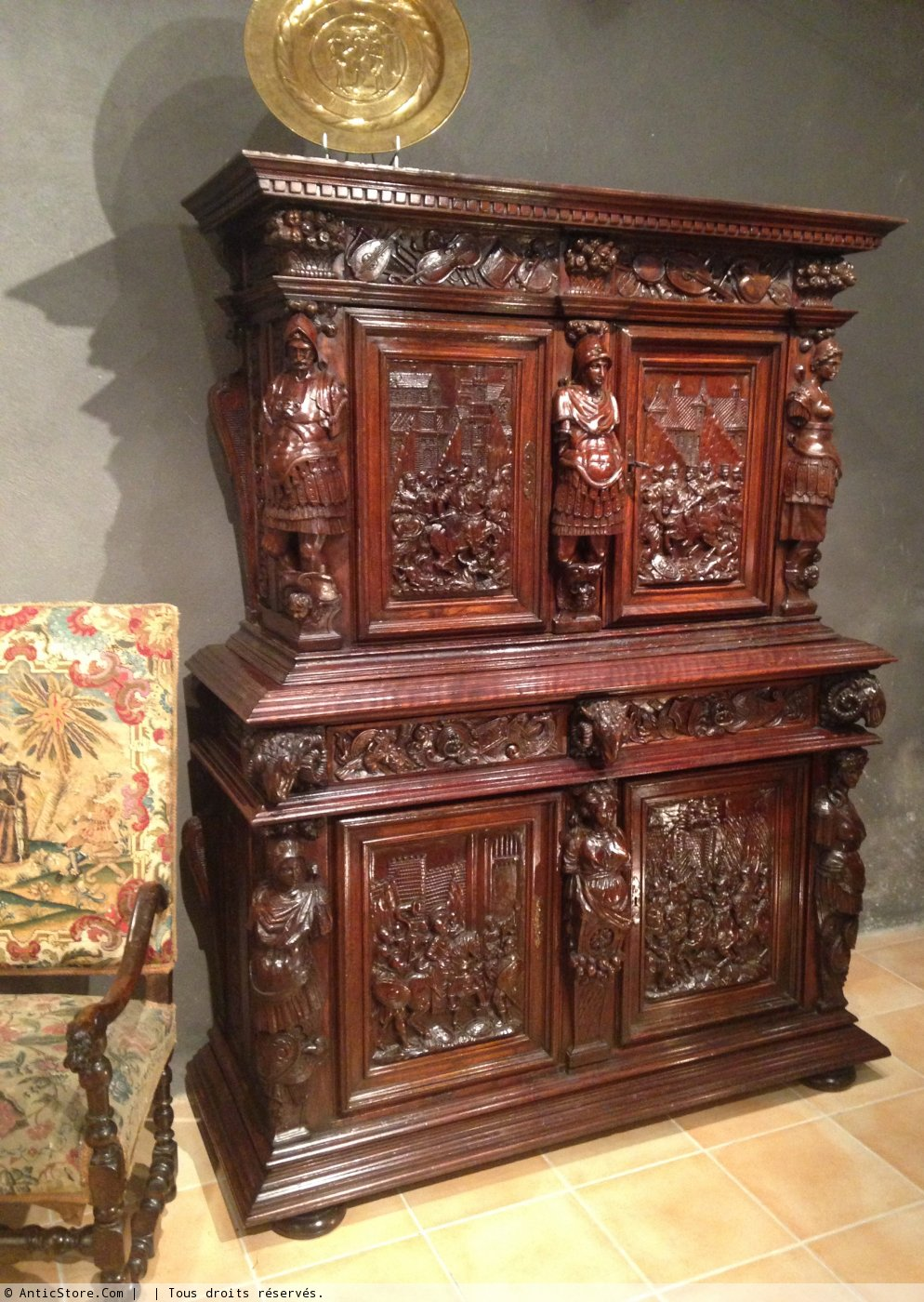 Early 17th Century Carved Walnut Cabinet Circa 1600 Ref